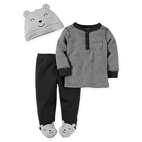 Carter S 174 3 Piece Babysoft Bear Footed Pant Top And Hat