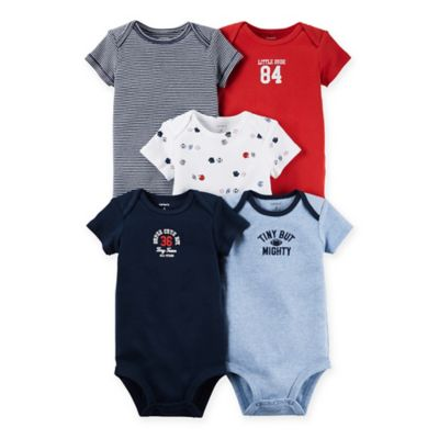 carter's® Size 24M 5-Pack Sports Babysoft Cotton Short Sleeve Bodysuits in Blue/Red