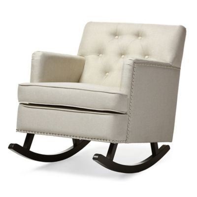 Baxton Studio Bethany Button-Tufted Rocking Chair in Beige