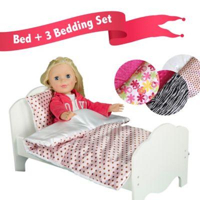Olivia's Little World Single Doll Bed and 6-Piece Zebra Stripe/Polka Dot/Flower Print Bedding Set