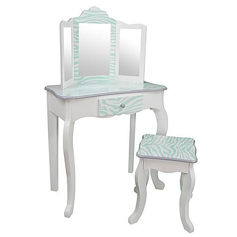 Teamson Kids Zebra Vanity Table And Stool Set In Aqua Blue