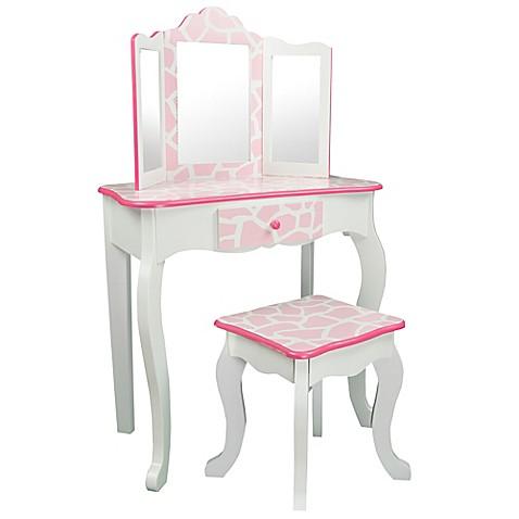 Teamson Kids Giraffe Vanity Table And Stool Set In Baby