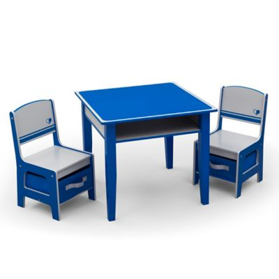 Delta™ Jack & Jill Storage 3-Piece Table and Chairs Set in Blue/Grey