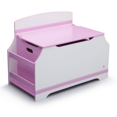 Delta™ Jack & Jill Deluxe Toy Box with Book Rack in Pink/White