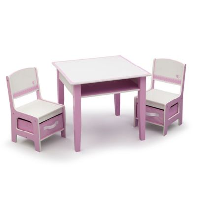 Delta™ Jack & Jill Storage 3-Piece Table and Chairs Set in Pink/White