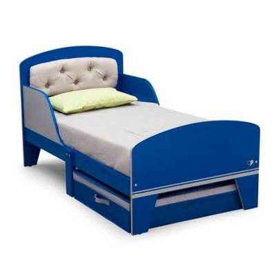 Delta™ Jack & Jill Toddler Bed with Upholstered Headboard in Blue/Grey
