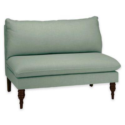 Skyline Furniture Juliana Armless Loveseat in Linen Swedish Blue