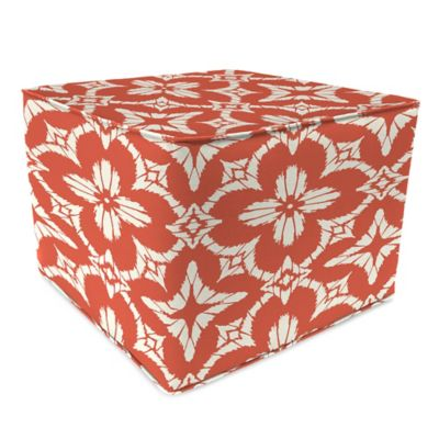 Outdoor 20-Inch Square Poufs in Aspidora Coral