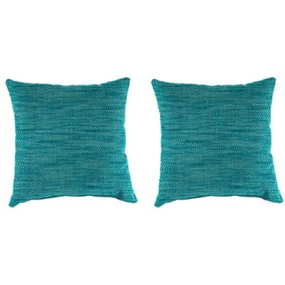 Outdoor 18-Inch Square Throw Pillow in Remi Lagoon (Set of 2)