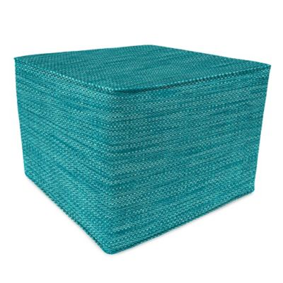 Outdoor 20-Inch Square Pouf in Remi Lagoon