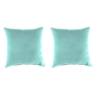 Outdoor 18-Inch Square Throw Pillows in Sunburst Pool (Set of 2)