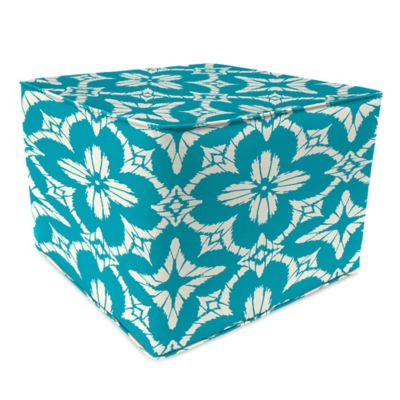 Outdoor 20-Inch Square Poufs in Aspidora Turquoise