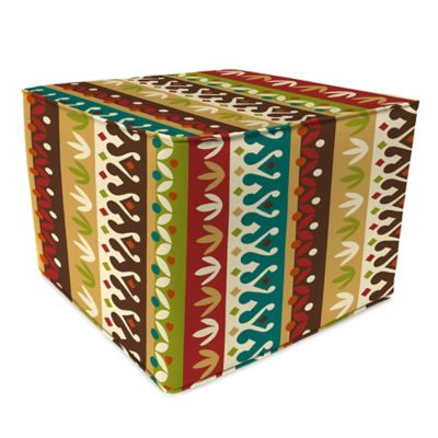 Outdoor 20-Inch Square Pouf in Cotrell Jungle (Set of 2)