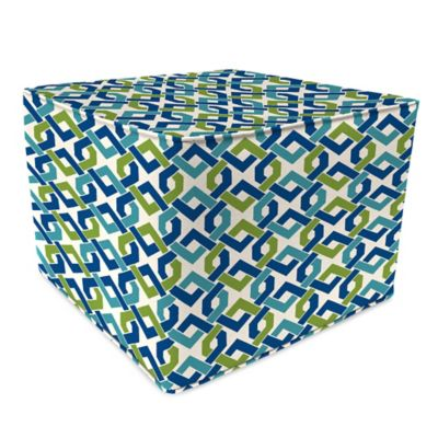 Outdoor 20-Inch Square Pouf in Rieser Lagoon