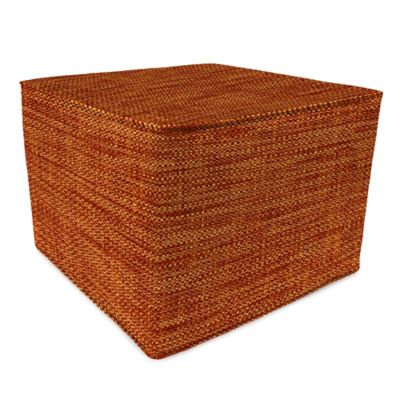 Outdoor 20-Inch Square Pouf in Remi Cayenne