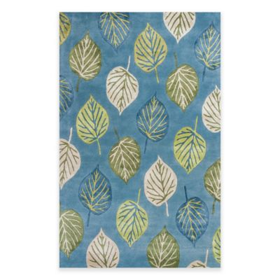 KAS Florence Leaves 3-Foot 6-Inch x 5-Foot 6-Inch Accent Rug in Ocean