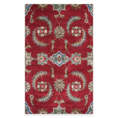 KAS Florence Allover Mahal 3-Foot 6-Inch x 5-Foot 6-Inch Accent Rug in Ruby