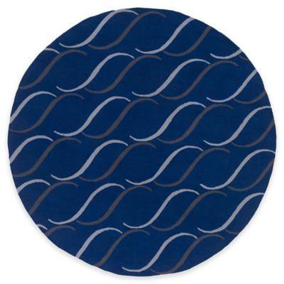 Style Statements by Surya Cheviot 8-Foot Round Indoor/Outdoor Area Rug in Cobalt