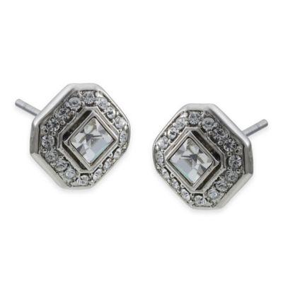 Carolee New York Samantha Square Cut Crystal Stud Earrings