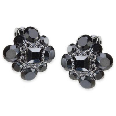 Carolee New York Tara Jet Crystal Button Clip-On Earrings