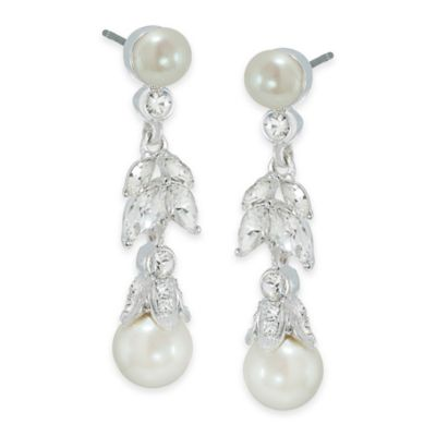 Carolee New York Lily Floral Pearl Linear Drop Pierced Earrings