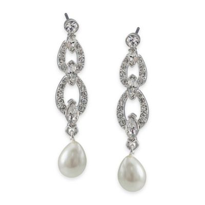 Carolee New York Holly Crystal and Pearl Link Drop Pierced Earrings