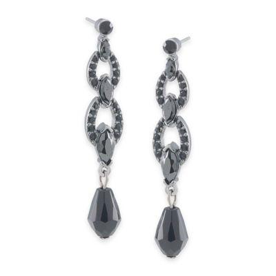 Carolee New York Trina Jet Crystal Link Drop Pierced Earrings