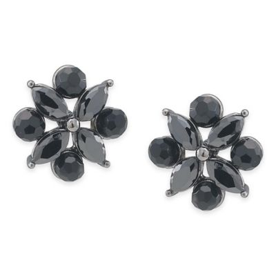 Carolee New York Madeline Jet Crystal Floral Button Pierced Earrings