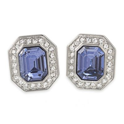 Carolee New York Madison Blue Crystal Button Clip-On Earrings