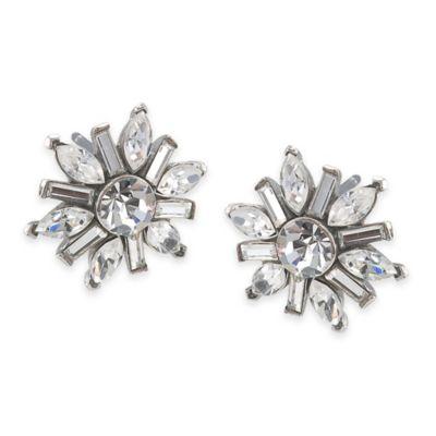 Carolee New York Brianna Deco Floral Crystal Button Pierced Earrings