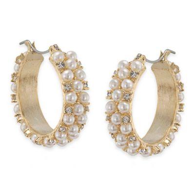 Carolee New York Chloe White Pearl Hoop Pierced Earrings