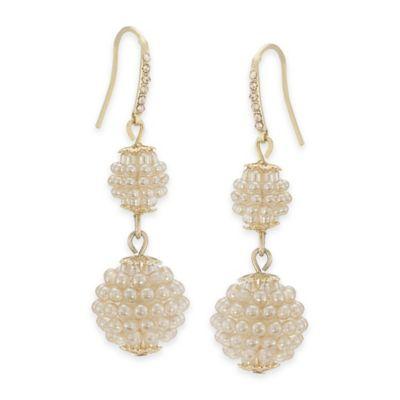 Carolee New York Dawn Suede Pearl Double Drop Pierced Earrings