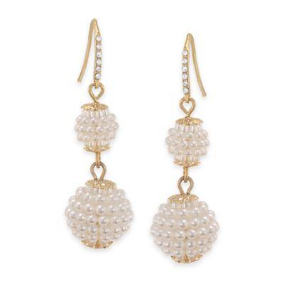Carolee New York Sienna White Pearl Double Drop Pierced Earrings