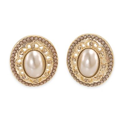 Carolee New York Savannah Suede Pearl Clip-On Earrings