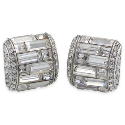 Carolee New York Gretchen Deco Crystal Baguette Button Clip-On Earrings