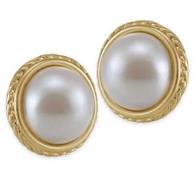Carolee New York Barbara White Pearl with Gold Rim Button Clip-On Earrings