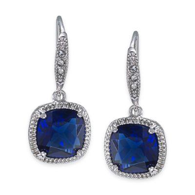 Carolee New York Elizabeth Sapphire Crystal Cushion Drop Pierced Earrings