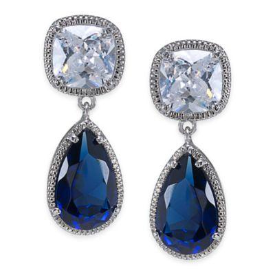 Carolee New York Paget Sapphire Crystal Double Drop Pierced Earrings