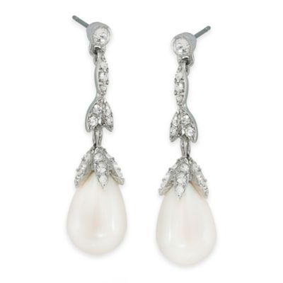 Carolee New York Victoria Crystal and Pearl Linear Drop Pierced Earrings