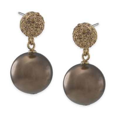Carolee New York Alexa Gold Crystal and Cocoa Pearl Drop Pierced Earrings