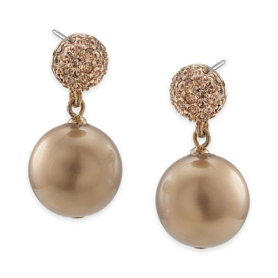 Carolee New York Thea Gold Crystal and Pearl Drop Pierced Earrings