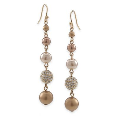 Carolee New York Shawna Gold Crystal and Pearl Linear Drop Pierced Earrings
