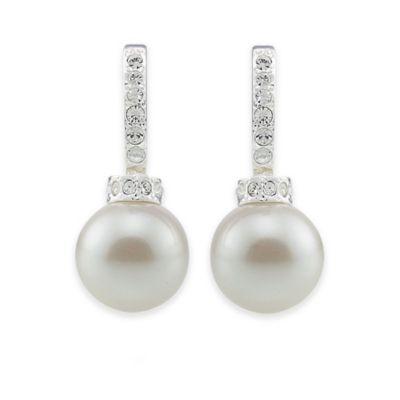 Carolee New York Megan Crystal and Pearl Hoop Pierced Earrings