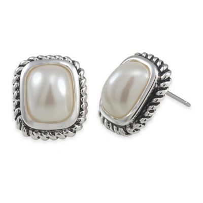 Carolee New York Sandra Small Pearl with Cable Edge Earrings