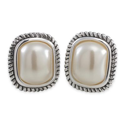 Carolee New York Rose Large Pearl with Cable Edge Clip-On Earrings