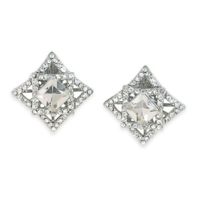 Carolee New York Upper East Side Clear Crystal Button Clip-On Earrings