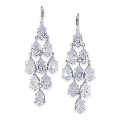 Carolee New York Upper East Side Clear Crystal Kite Chandelier Pierced Earrings
