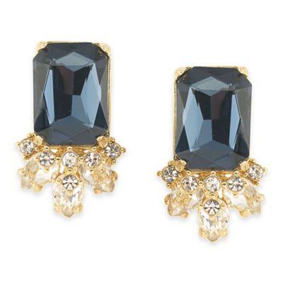 Carolee New York Blue Note Button Pierced Earrings