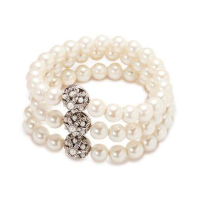 Carolee New York Violet Three Row Pearl and Crystal Stretch Bracelet
