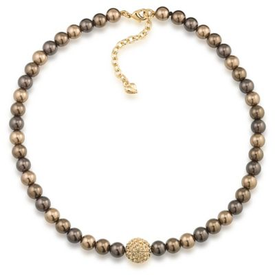 Carolee New York Tess 8mm Cocoa Pearl Necklace with Gold Crystal Center